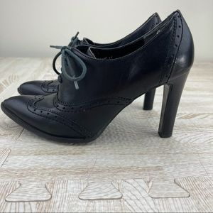 Marc Fisher Black Oxford Leather Bootie Heels